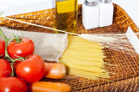 Ingredients to make delicious spaghetti photo
