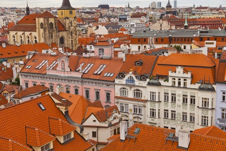 Aerial view of houses and roofs typical of Prague photo