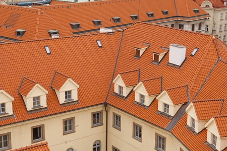 Aerial view of houses and roofs typical of Prague Stock Photo - 14587421