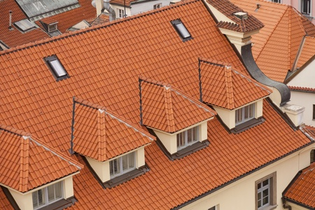 Aerial view of houses and roofs typical of Prague Stock Photo - 14587420
