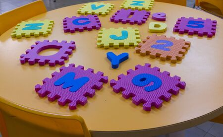 didactic: School board with plastic toys didactic Stock Photo