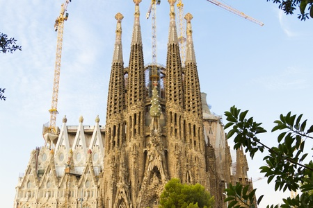 Temple of the Sagrada Familia in Barcelona, Spain situated