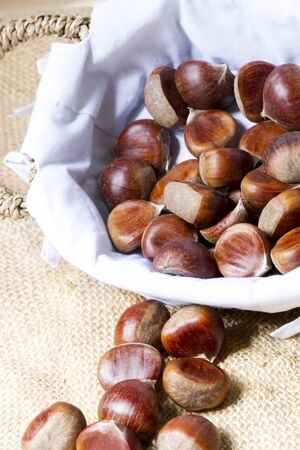 all saints  day: Bag with chestnuts for All Saints Day Stock Photo