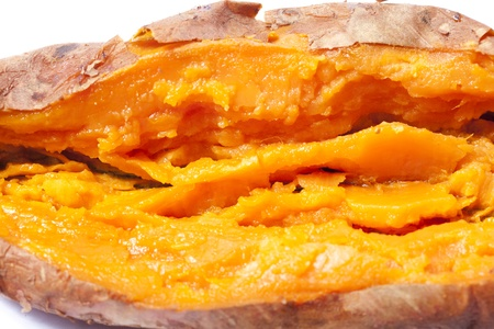 Close up of a delicious roasted sweet potato