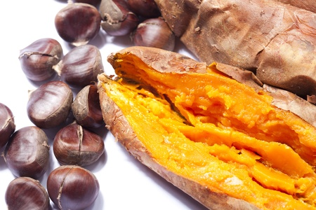 Close up of a delicious roasted sweet potato with chestnuts Stock Photo