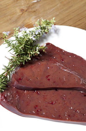viscera: Delicious fresh beef liver and filleting Stock Photo