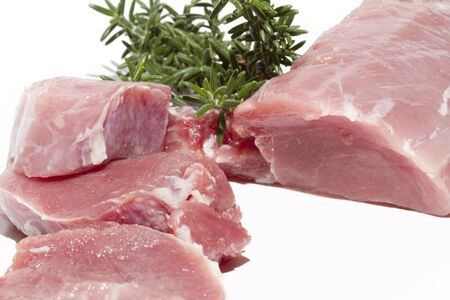 Cut pork tenderloin and fresh Stock Photo - 15752876