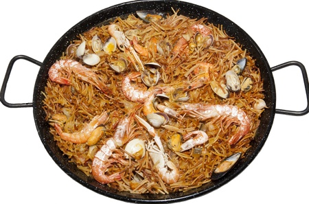 Typical Mediterranean food based fried noodles Stock Photo