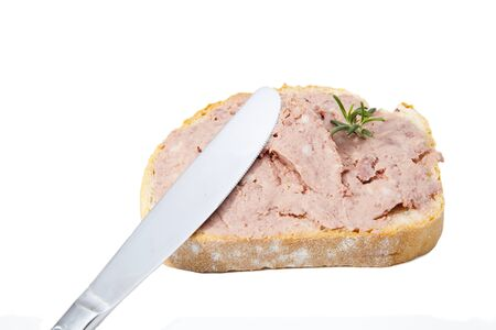 Piece of bread with a delicious foie gras craftsman Stock Photo - 16008463