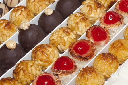 Panellets, a typical dessert of Catalonia, on the day of All Saints photo
