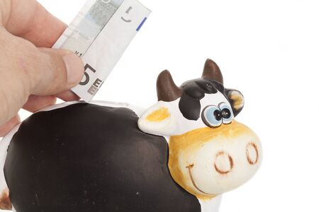 cash cow: Hand inserting a five dollar note in a piggy bank