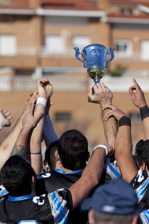 Cup Final Football Catalan among Rookies vs Badalona Dracs Barbera held in Barbera del Valles (Barcelona) Stock Photo - 16978852