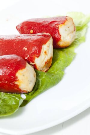 red peppers: Piquillo peppers stuffed with cod and mushrooms