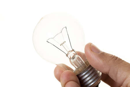 filament: Person with a filament bulb in hands Stock Photo