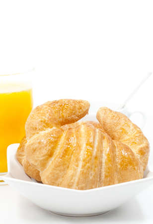 Breakfast of croissant and latte natural juice Stock Photo - 17183476