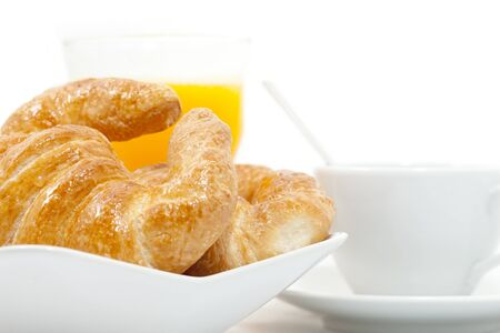 Breakfast of croissant and latte natural juice Stock Photo - 17183473