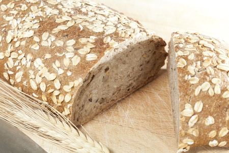 integral oven: Fluffy seed fresh bread on white background Stock Photo
