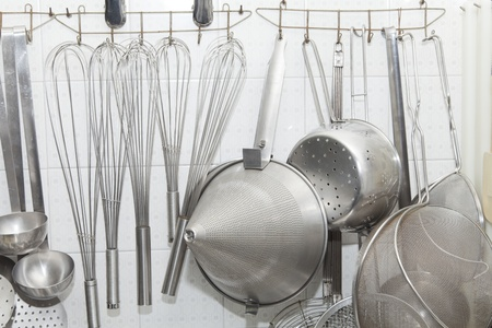 aluminum rod: Kitchen utensils and buckets and some pan beaters