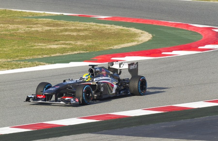 sauber: BARCELONA - MARCH 02: Esteban Gutierrez racing with his new Sauber F1 Team at Formula One Teams Test Days at Catalunya circuit on March 02, 2013 in Montmelo, Barcelona, Spain. Editorial
