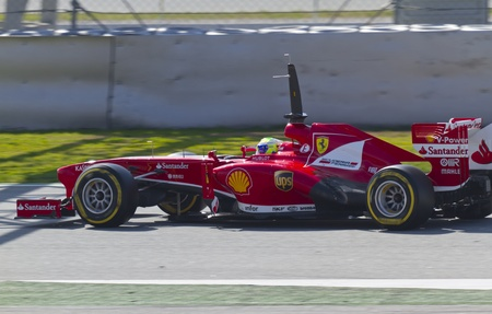 massa: BARCELONA - MARCH 02: Felipe Massa racing with his new Scuderia Ferrari at Formula One Teams Test Days at Catalunya circuit on March 02, 2013 in Montmelo, Barcelona, Spain.