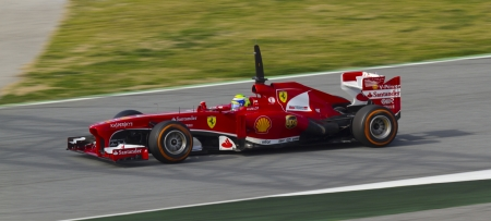 BARCELONA - MARCH 02: Felipe Massa racing with his new Scuderia Ferrari at Formula One Teams Test Days at Catalunya circuit on March 02, 2013 in Montmelo, Barcelona, Spain.