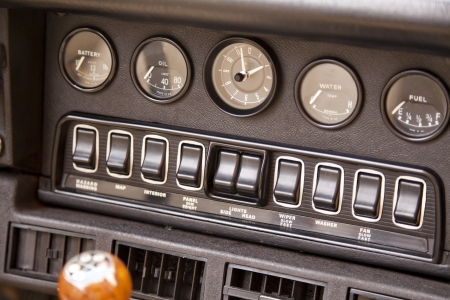 Control panel of a classic ancient car photo
