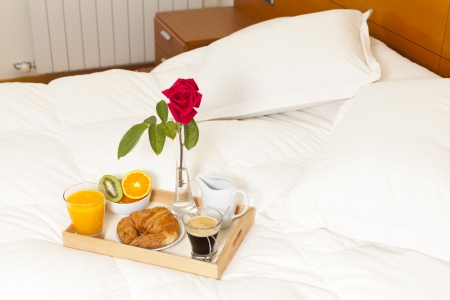 Delicious breakfast in bed prepared Mediterranean