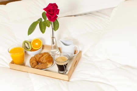 Delicious breakfast in bed prepared Mediterranean Stock Photo - 19398700