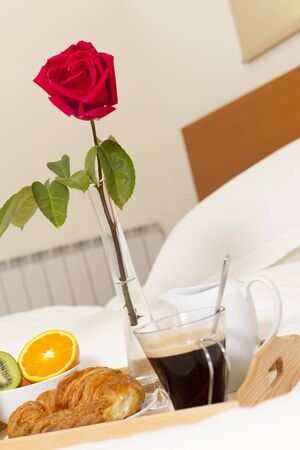 Delicious breakfast in bed prepared Mediterranean Stock Photo - 19398590