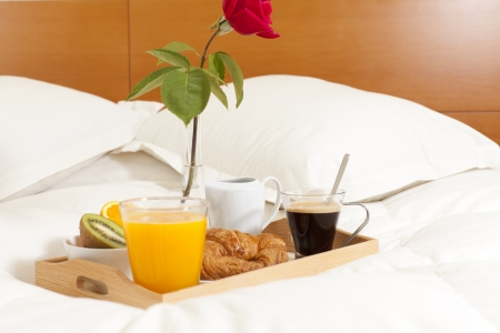 Delicious breakfast in bed prepared Mediterranean Stock Photo - 19398594
