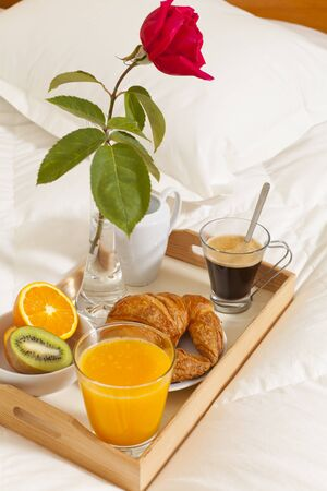 Delicious breakfast in bed prepared Mediterranean Stock Photo - 19398750