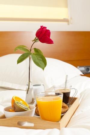 Delicious breakfast in bed prepared Mediterranean Stock Photo - 19398600