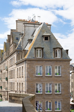 st  malo: The city walls and houses of St  Malo in Brittany, France