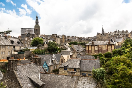 rance: View the town of Dinan, Brittany, France Stock Photo