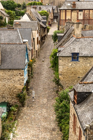 dinan: View the town of Dinan, Brittany, France Stock Photo