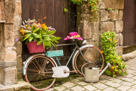 old bicycle: View the town of Dinan, Brittany, France Stock Photo