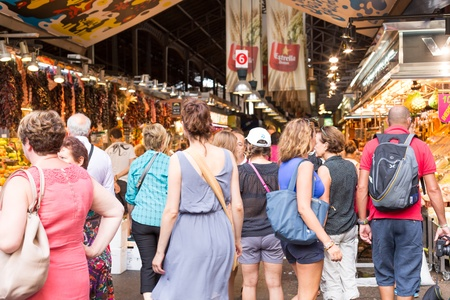 josep: Emblem at the entrance of Sant Josep de la Boqueria Market on August 22, 2013 in Barcelona  This market is one of the most visited tourist attractions in Barcelona Editorial