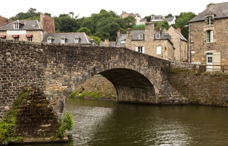 rance: Old medieval stone bridge in Dinan, France