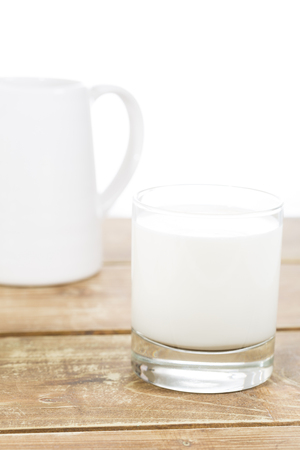dairying: Glass of milk isolated on white background Stock Photo