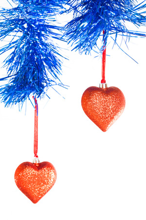 argent: Christmas ball in the form of heart on a white background