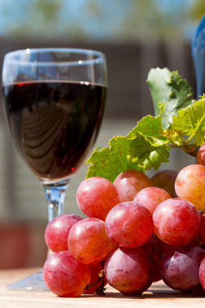 Black wine glass with freshly harvested grapes photo