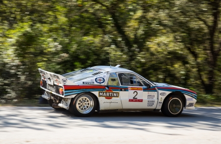 chr: Vic, SPAIN - OCTOBER  12 : Norwegian driver Valter Chr. Jensen  and his codriver in a Lancia Rally 037 race in the 61nd Rally Costa Brava, on October 12, 2013 in Vic, Spain Editorial