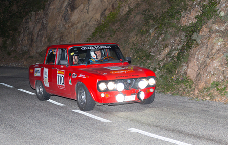 francesc: VIC, SPAIN - OCTOBER  12 : Spanish driver Francesc Casaponsa and his codriver in a Alfa Romeo Giulia race in the 61nd Rally Costa Brava, on October 12, 2013 in Vic, Spain Editorial