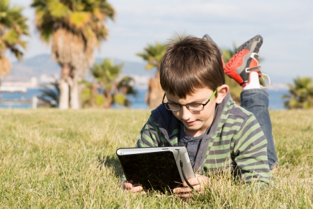 portative: Boy with a laptop lying on the grass in a park Stock Photo