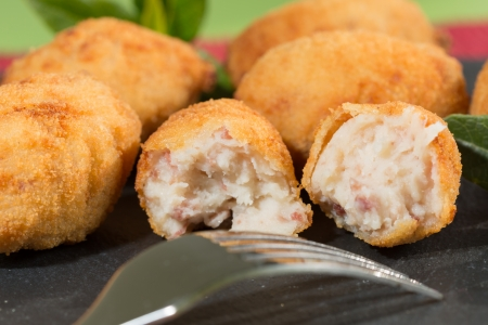 breadcrumbs: Delicious stuffed croquettes iberico ham and cheese Stock Photo