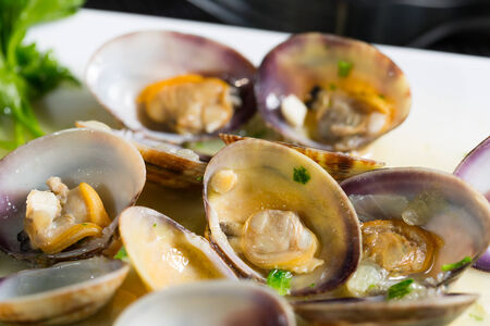 Delicious fresh clams cooking with seafood photo