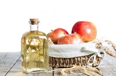 galas: Homemade Vinegar galas apples on a table in a farmhouse Stock Photo