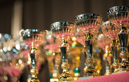immediate: Trophies exposed for immediate award Stock Photo