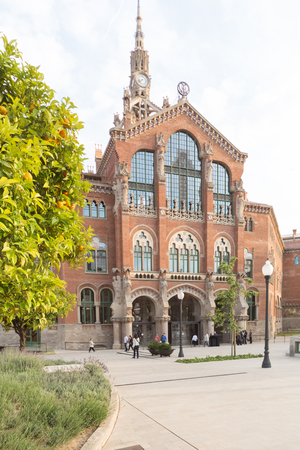 BARCELONA, SPAIN - MAY 17, 2014: Hospital of the Holy Cross and Saint Paul in Barcelona. Was built between 1901 and 1930 by Catalan modernist on May 17, 2014 in Barcelona, Spain.