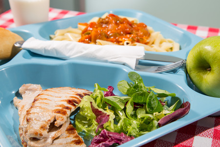Tray of food for school meals Standard-Bild